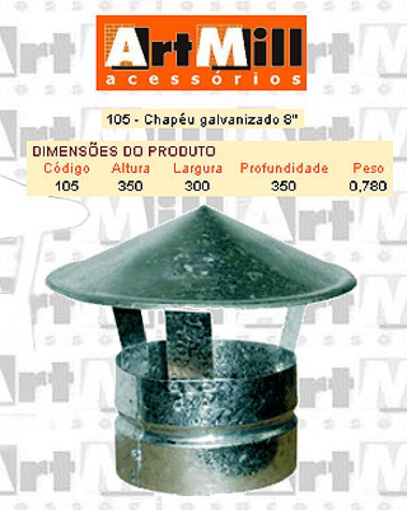 Kit Chamin� Artmill - Chap�u galvanizado n�8,Chap�u para Chamin�