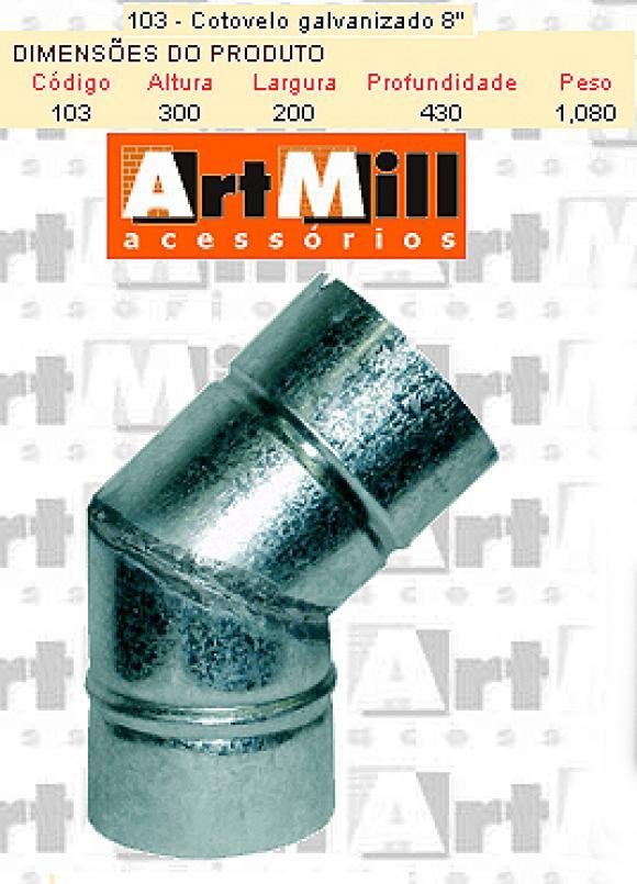 Kit Chamin� Artmill - cotovelo galvanizado n�8,chamin� para forno igloo