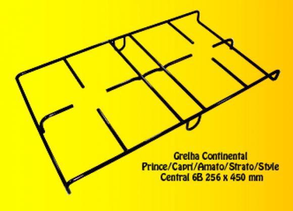 Grelha Cont. Prince/Capri/Amato/Strato/Style CENTRAL 6B 256 x 450 mm,so fogoes,sofogoes,pe�as para fogo�o em geral,fog�es,conserto de fog�es,conserto de fog�es bh,fog�es industriais.fog�es a lenha