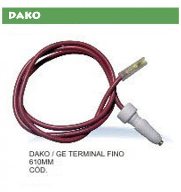 Vela Dako GE terminal fino fio 610 mm,vela eletrodo para fogão