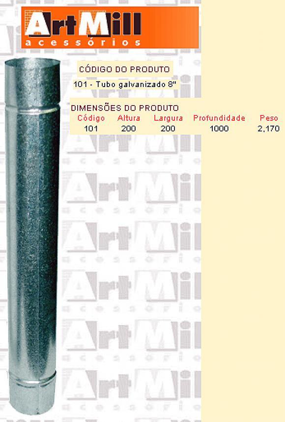 Kit Chamin� Artmill - Tubo galvanizado n�8 ,Forno para Pizzaria;forno para pizza