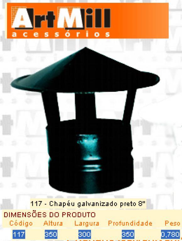 Kit Chamin� Artmill - chap�u galvanizado preto n�8,Chap�u para Chamin�