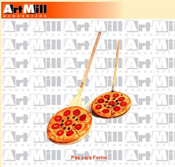 P� para Pizza de ferro com cabo de madeira 36cm,p� para forno de pizza