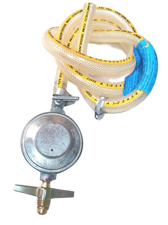 Regulador de g�s com mangueira e abra�adeira,Registro e g�s