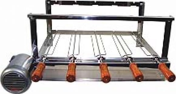 Gira espeto el�trico para churrasqueira alvenaria 5  Esp Inox - Refor�ado ,kit rotativo