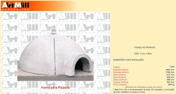 Forno para Pizzaria refrat�rio 160,forno para Pizzaria