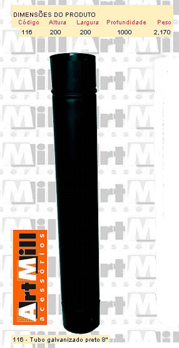 Kit Chamin� Artmill - Tubo galvanizado preto n�8,kit chamin� para forno de pizza,artmill